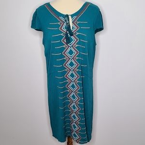 Luxology teal embroidered dress